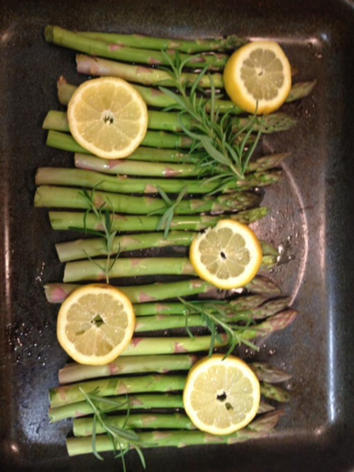 lemonrosemary asparagus in pan