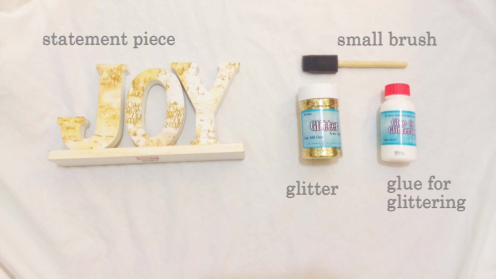 DIY glitter statement decor