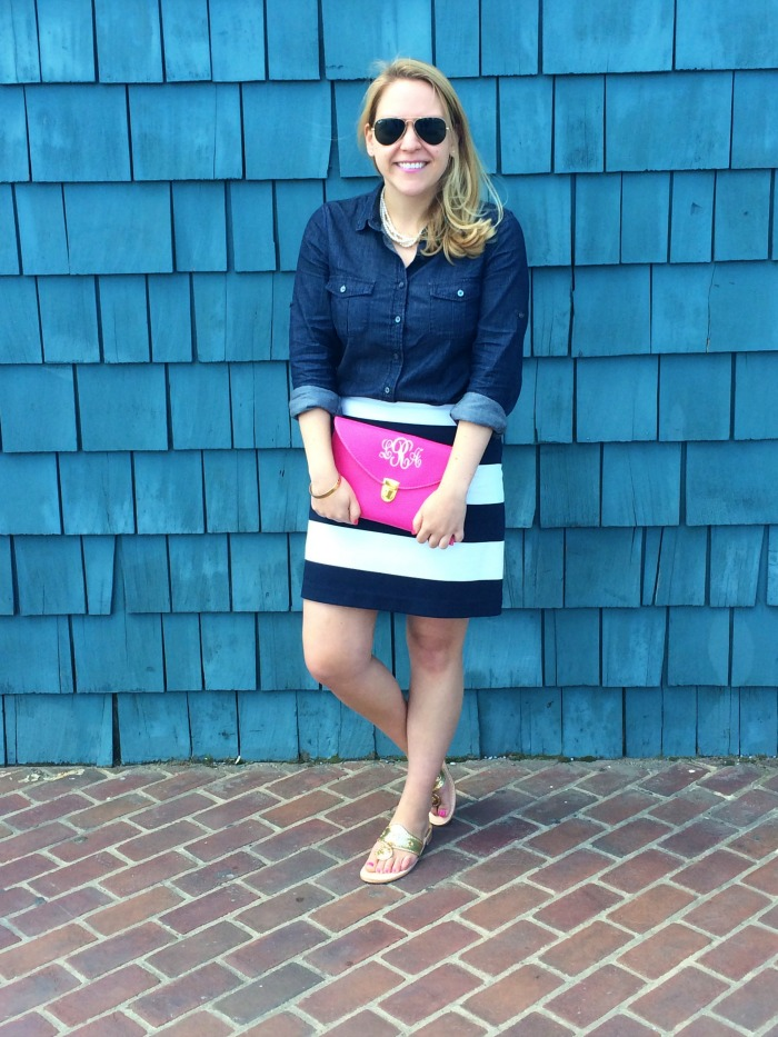 DC Girl in Pearls - Marley Lilly Luxe Cross Body Clutch, J.Crew chambray shirt, Vineyard Vines stripe skirt, gold Jack Rogers