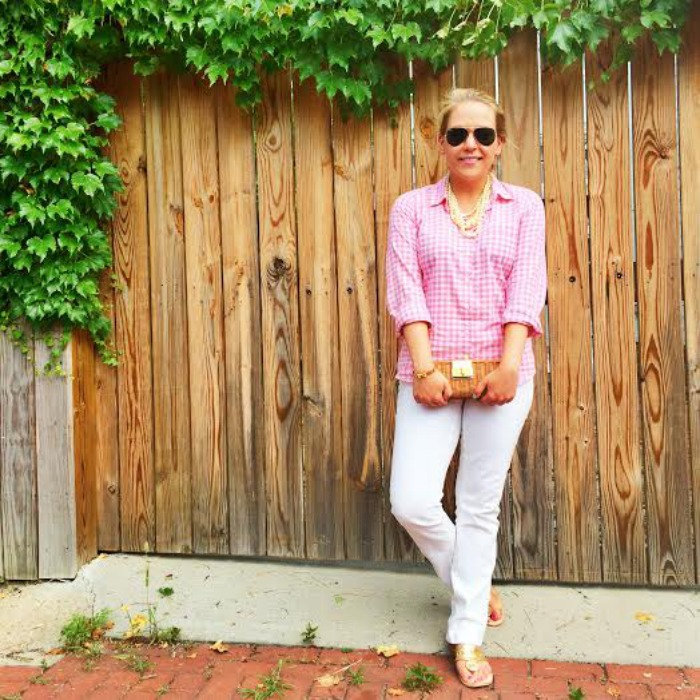 DC Girl in Pearls - J.Crew Gingham + Lilly Pulitzer White Jeans