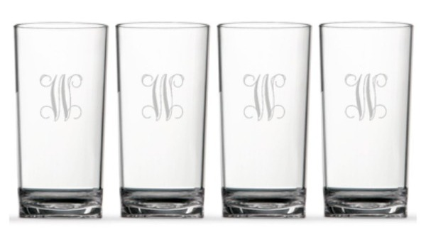 DC Girl in Pearls - Design Darling Monogram Highball Glasses