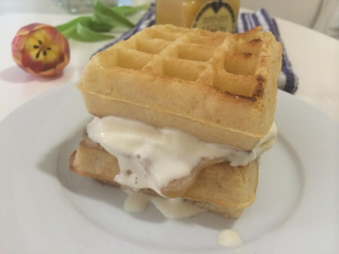 DC Girl in Pearls - Lemon Curd Belgian Waffle Ice Cream Sandwich