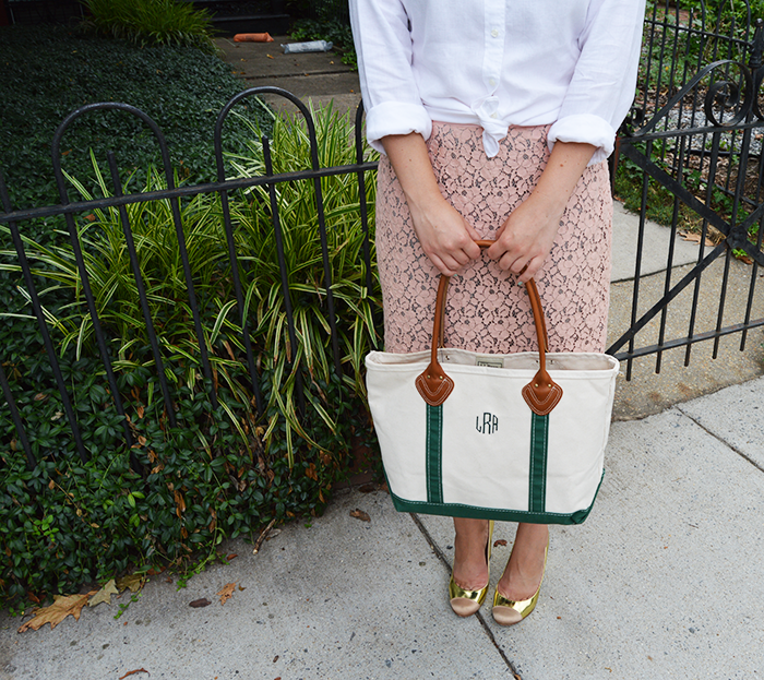 DC Girl in Pearls - J.Crew Lace Pencil Skirt, Linen Shirt and J.Crew Etta Pumps