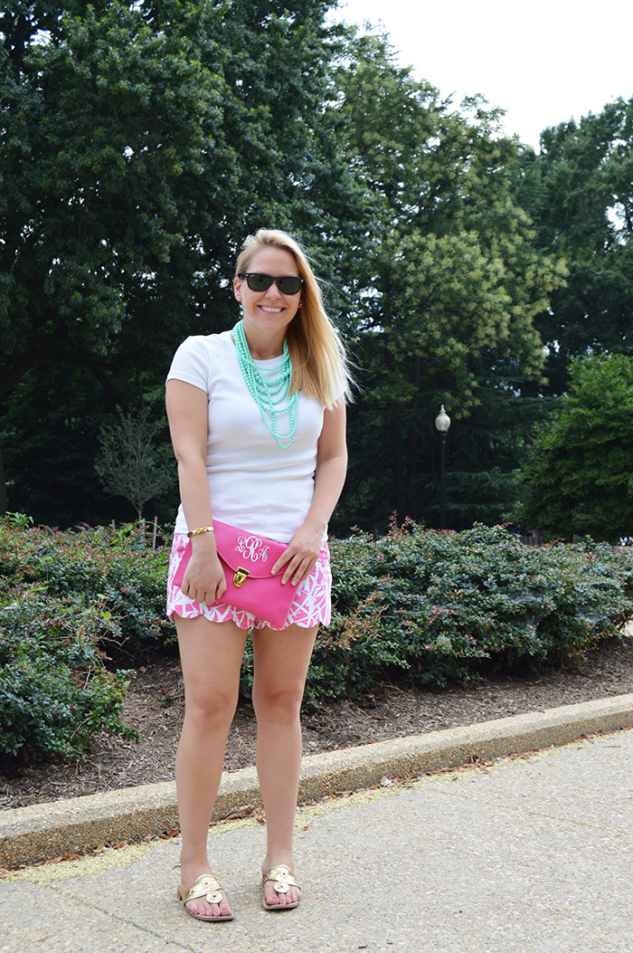 DC Girl in Pearls ft. Marley Lilly clutch, Lilly Pulitzer buttercup shorts and Loren Hope bow cuff