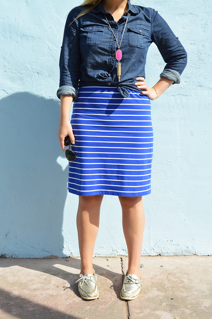 Chambray + Stripes for Fall - DC Girl in Pearls