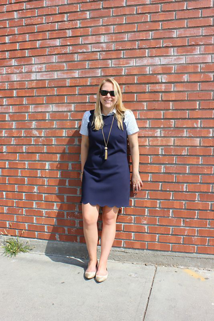 Layering J.Crew Scalloped Shift Dress for Work - DC Girl in Pearls
