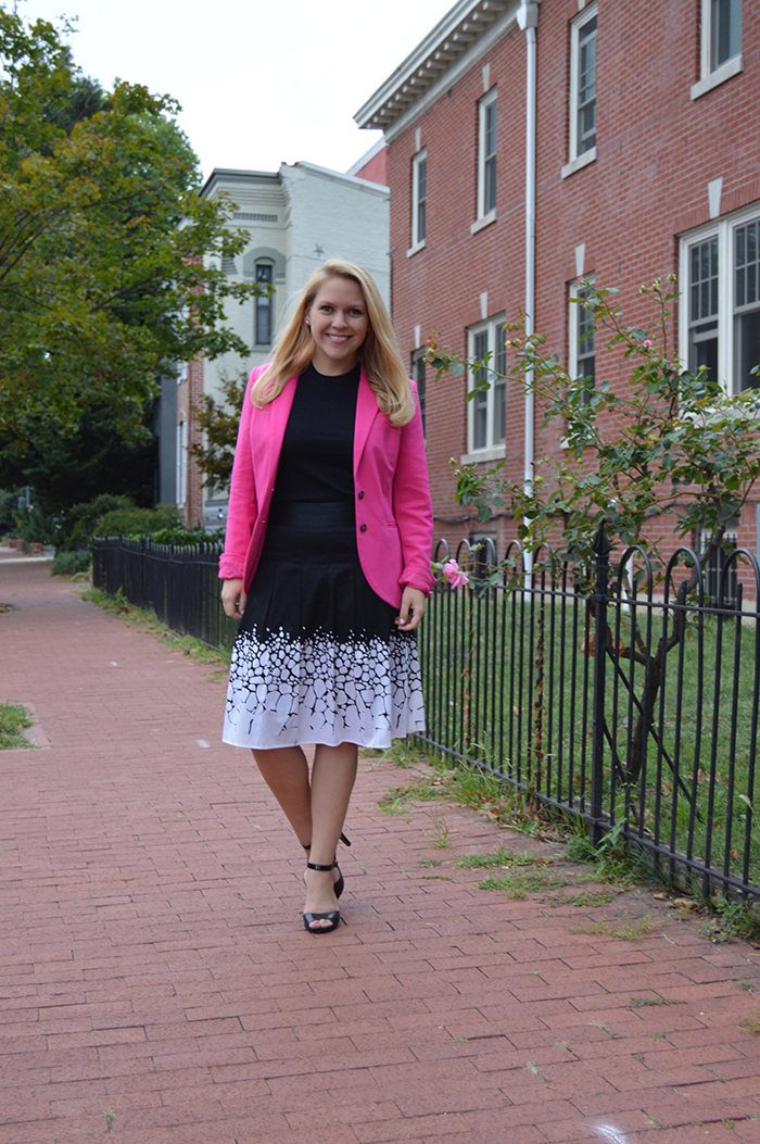 Pink Blazer To Work - DC Girl in Pearls