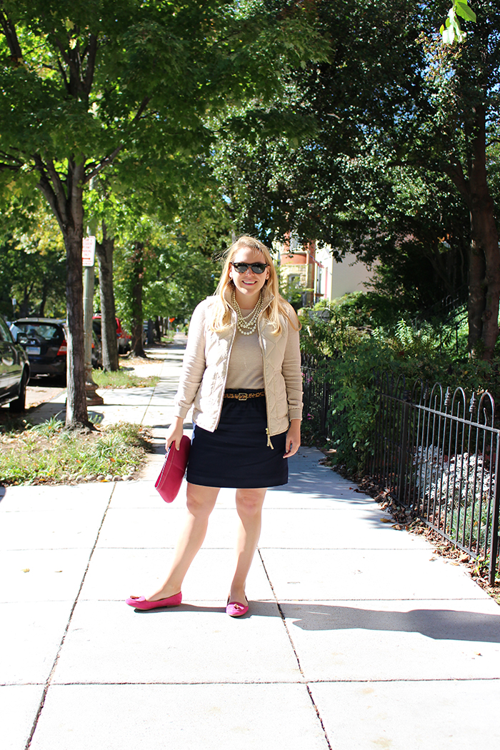 Fall Neutrals With Pops of Pink from Gap + J.Crew Factory - DC Girl in Pearls