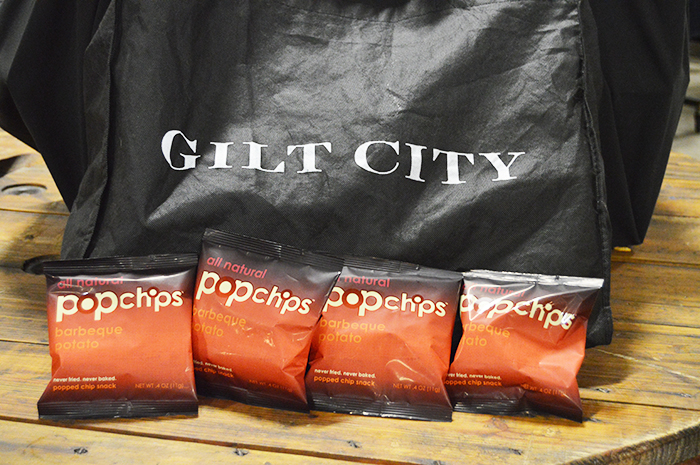 Pop-up shopping Gilt City snacking on PopChips - DC Girl in Pearls