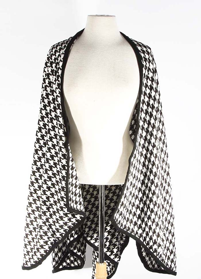Houndstooth Cardigan Cape - The Shopping Bag