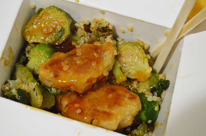DC Girl in Pearls - Takeout Fakeout Vegetarian General Tso's Chicken with vegetarian chicken nuggets, roasted brussels sprouts + quinoa