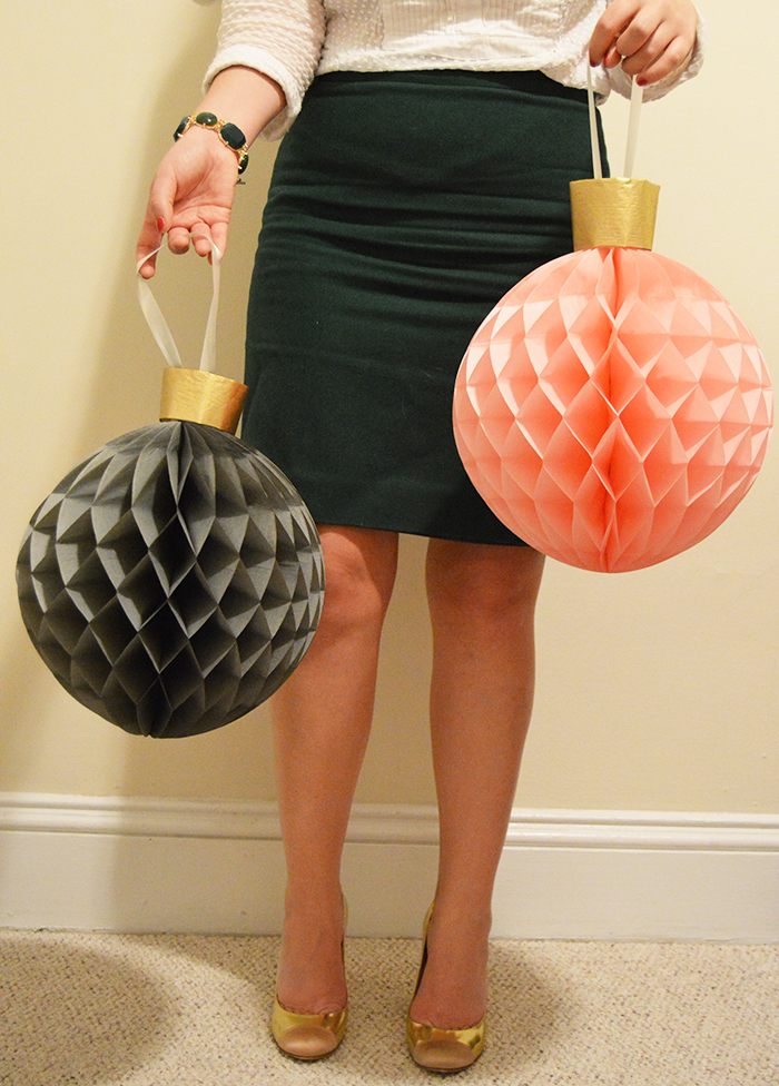 DIY Giant Honeycomb Ornaments with IKEA Visionar Decor - DC Girl in Pearls