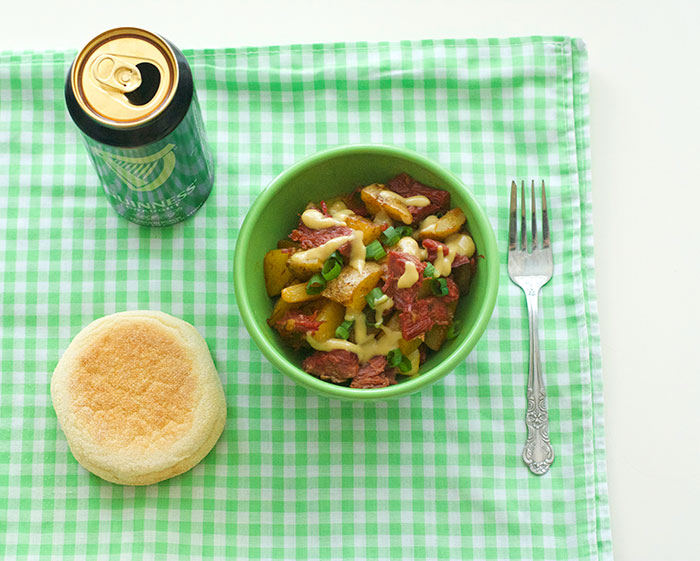 Celebrate St. Patrick's Day at breakfast with Corned Beef Hash + Guinness Hollandaise | dcgirlinpearls.com