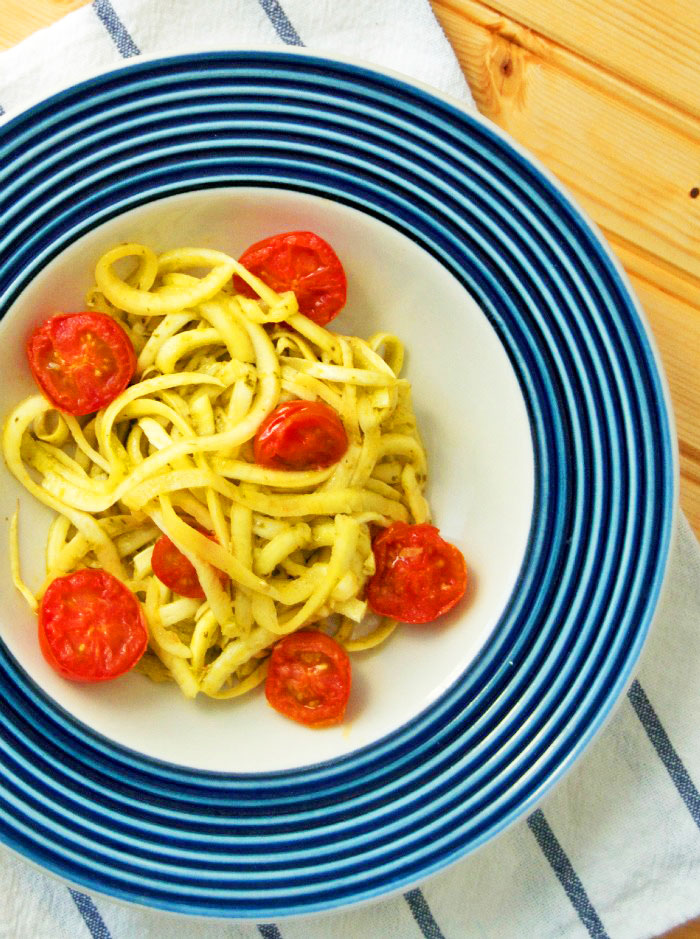 Zucchini Noodles with Pesto + Sauteed Grape Tomatoes - DC Girl in Pearls