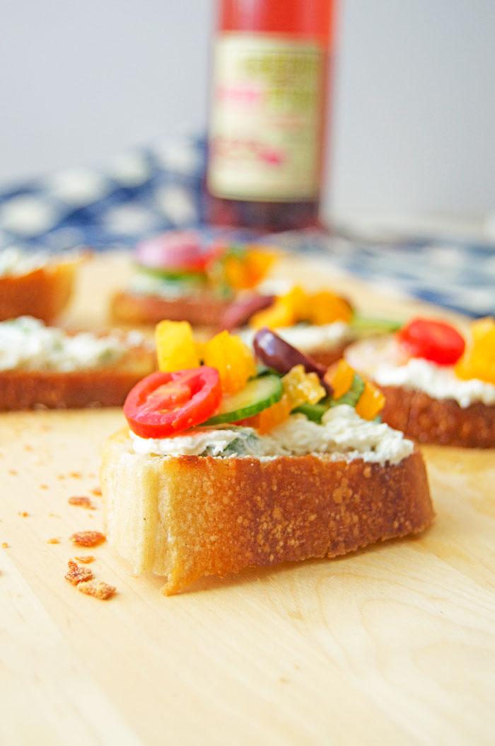 Mediterranean Bruschetta + Whipped Jalapeño Feta Recipe | dcgirlinpearls.com