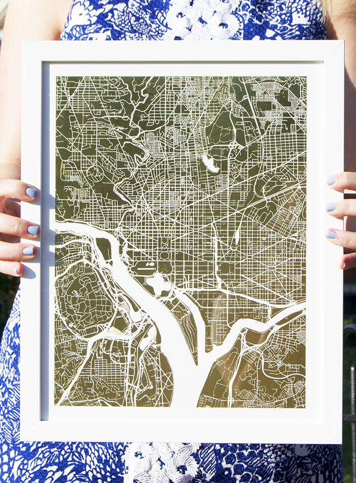Gold Foil Pressed Map of Washington, DC on Minted.com | dcgirlinpearls.com