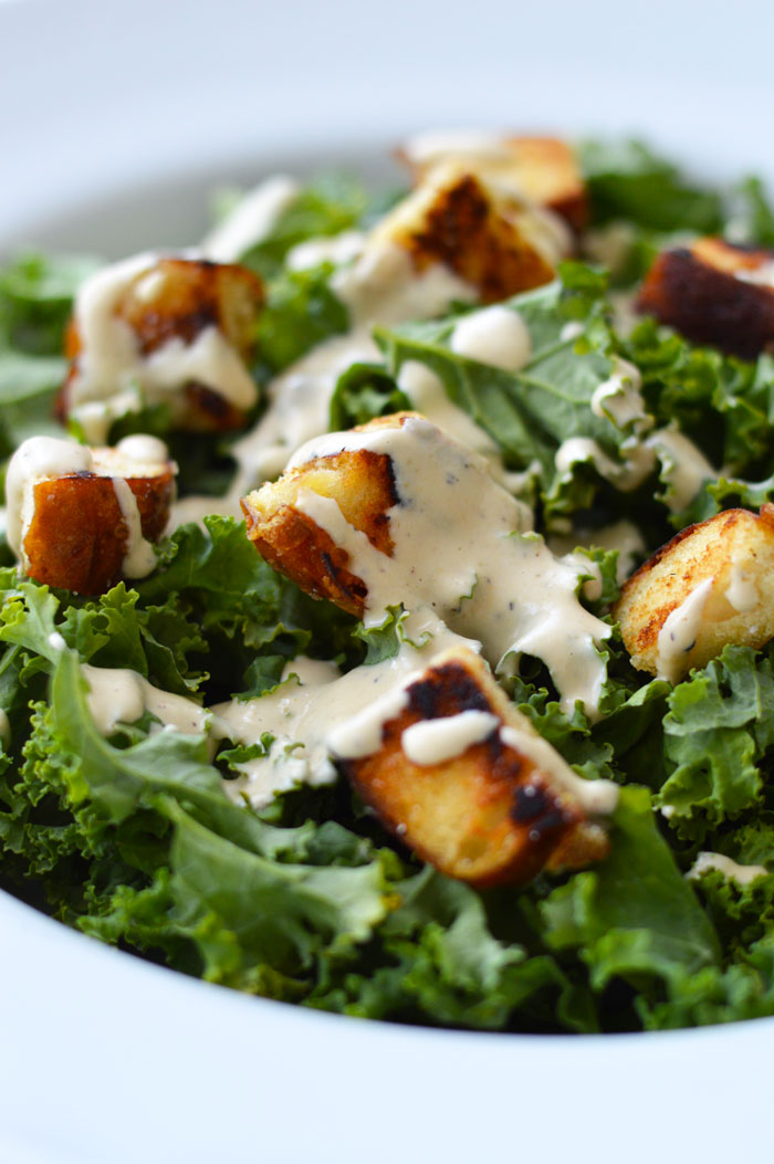 Kale Caesar Salad with Non-Dairy Tahini Caesar Dressing and Pretzel Croutons | dcgirlinpearls.com