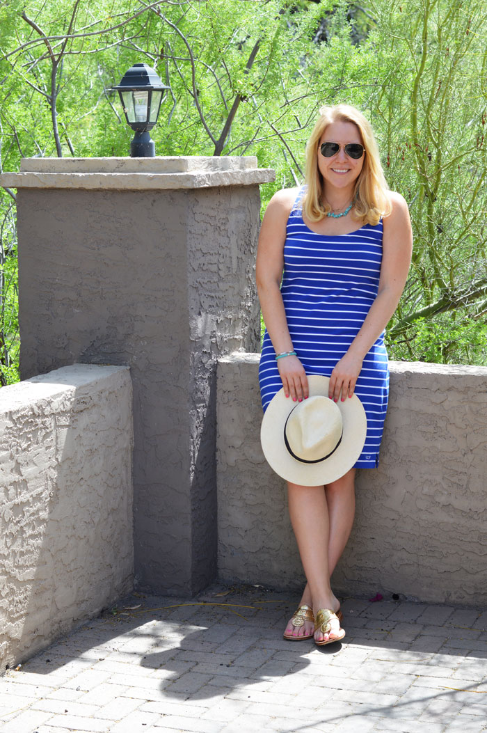Desert Style ft. Stripe Tank Dress, Gold Jack Rogers + Panama Hat via @ DC Girl in Pearls | dcgirlinpearls.com