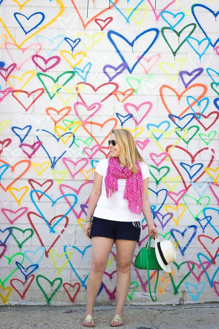 Navy Shorts with Perfect White Tee and Colorful Scarf via DC Girl in Pearls | dcgirlinpearls.com