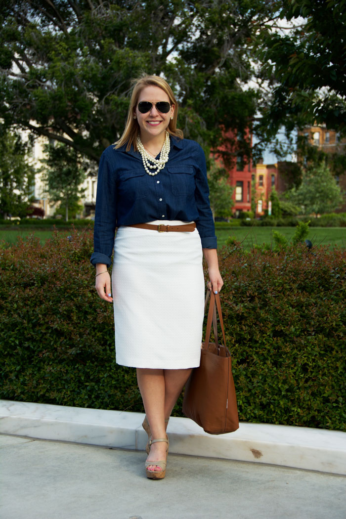 Casual Friday with Chambray Shirt, White Pencil Skirt and Neutral Accessories via @ DC Girl in Pearls | dcgirlinpearls.com
