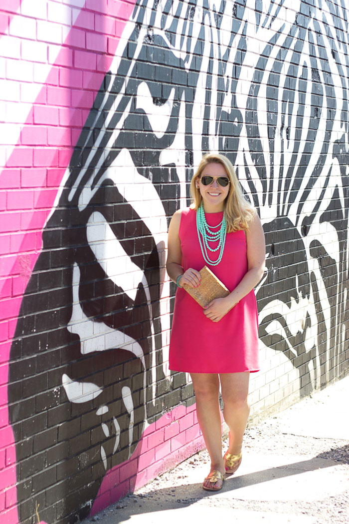 Coral Shift Dress + Turquoise Beaded Necklace with Cork Clutch | DC Girl in Pearls
