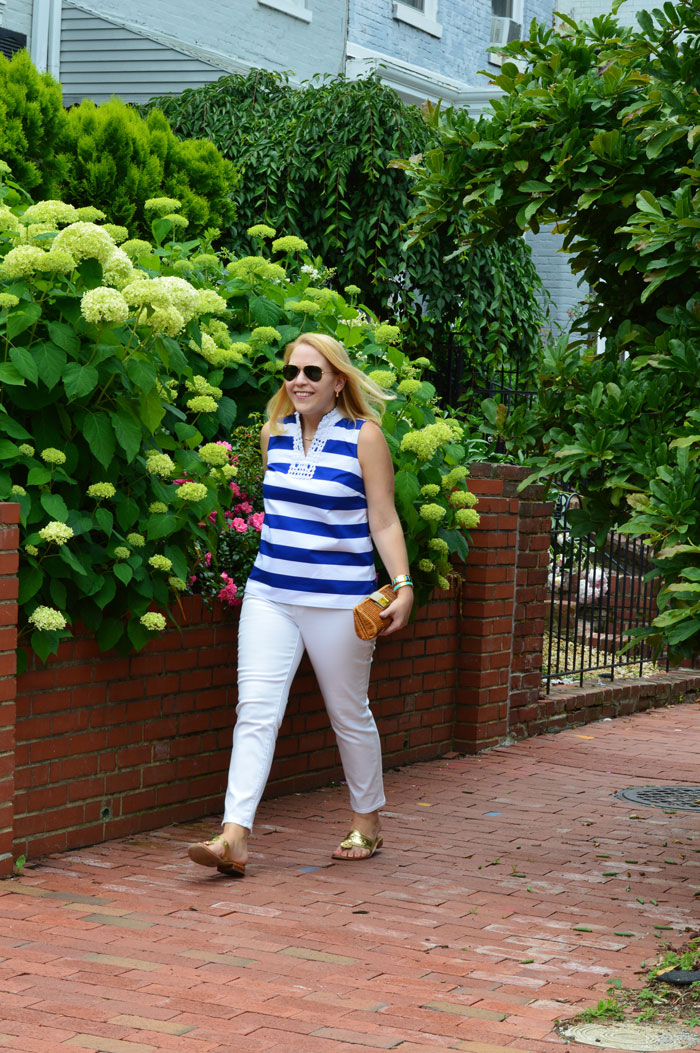 Sleeveless Stripe Top + White Jeans via @ DC Girl in Pearls | dcgirlinpearls.com