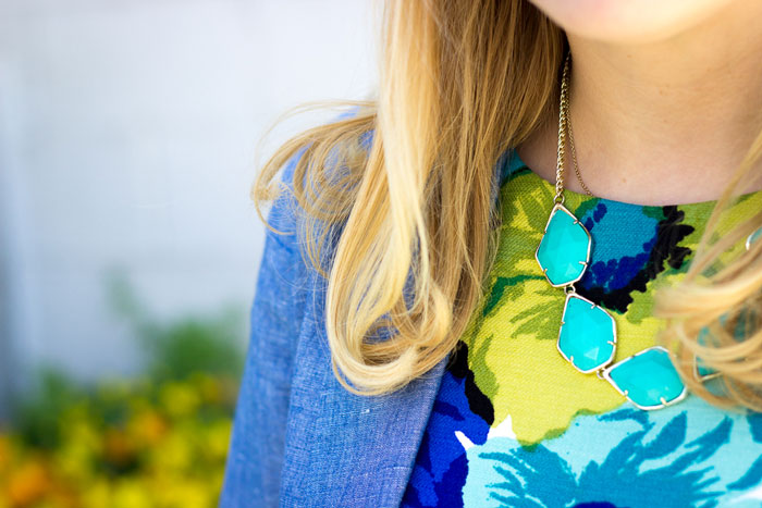 Chambray Blazer + Floral Print Shift via @DC Girl in Pearls | dcgirlinpearls.com