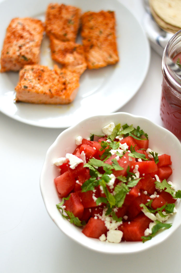 Chili-Lime Seasoned Salmon Tacos with Watermelon Feta Salsa via @ DC Girl in Pearls | dcgirlinpearls.com