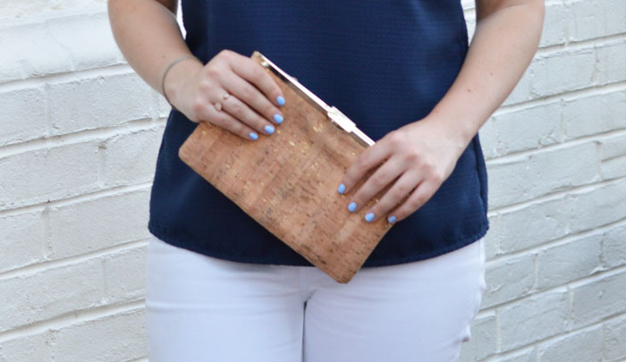 J.Crew Factory Cork Frame Clutch via @ DC Girl in Pearls | dcgirlinpearls.com
