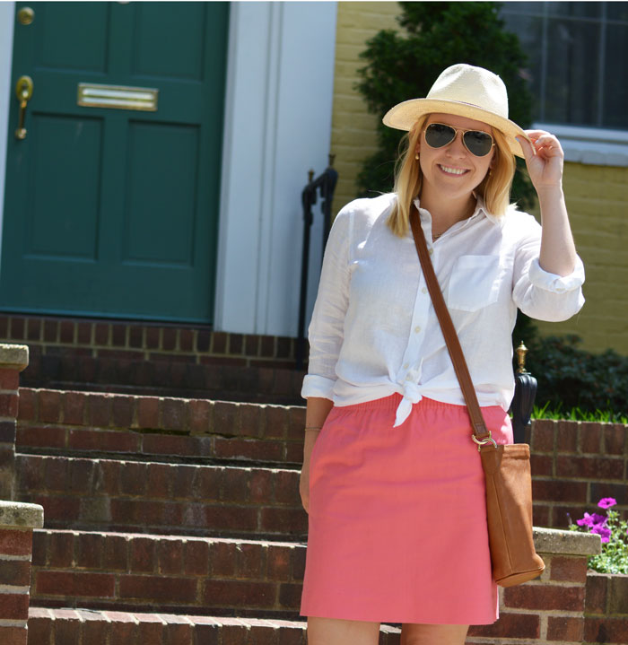 Linen Shirt and Linen Skirt with Panama Hat via @ DC Girl in Pearls | dcgirlinpearls.com