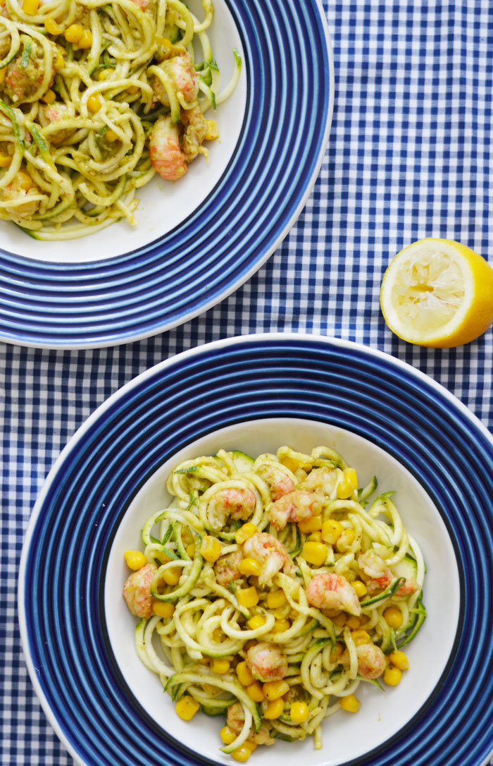 Zucchini-Noodles-Creamy-Old-Bay-Avocado-Sauce-Corn-Seafood