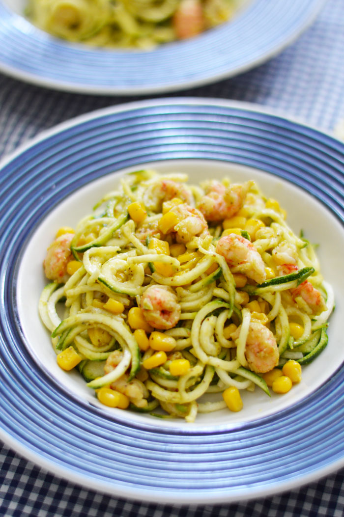 Zucchini Noodles with Creamy Old Bay Avocado Sauce, Corn ...