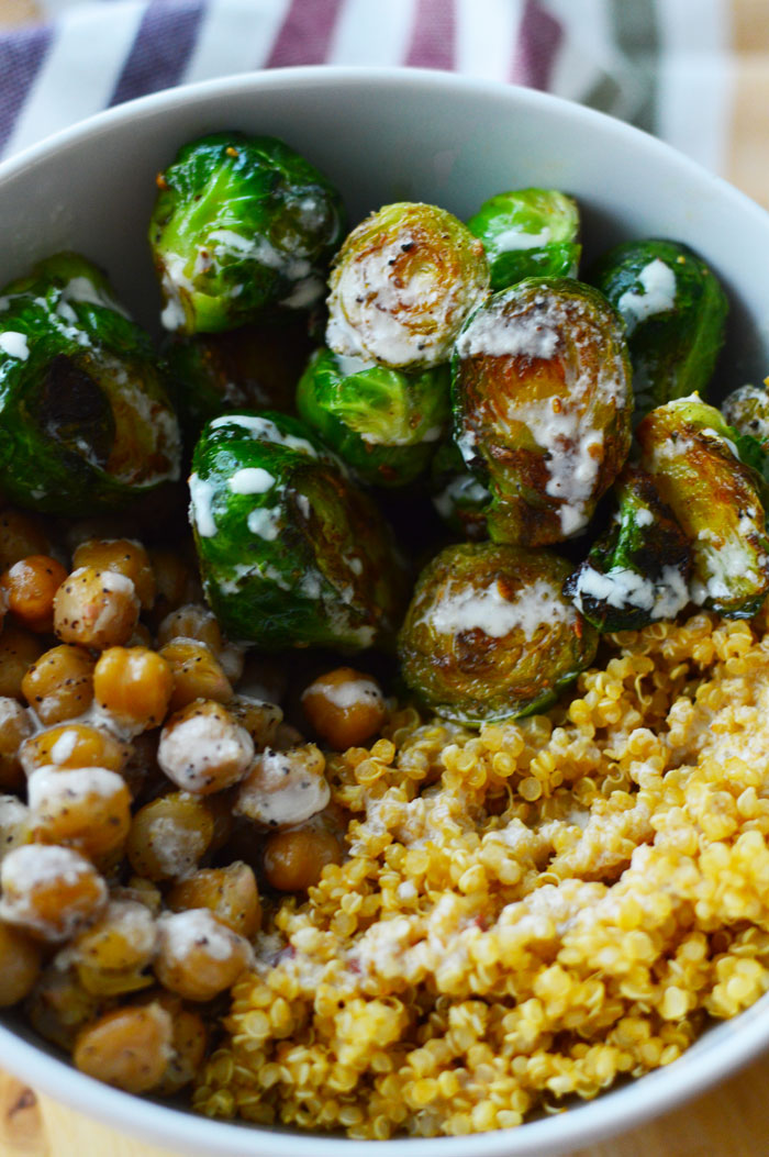 Brussels Sprouts + Roasted Chickpeas Buddha Bowl | dcgirlinpearls.com