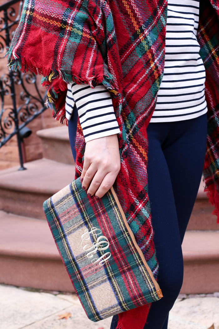 Striped Long Sleeve Tee Plaid Scarf | dcgirlinpearls.com