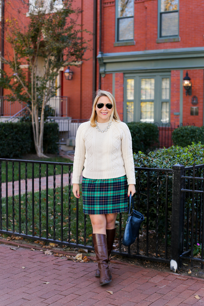 DC Girl in Pearls Plaid Christmas Outfit | dcgirlinpearls.com