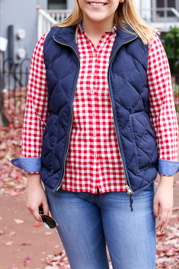 Gingham Shirt + Puffer Vest for Fall | dcgirlinpearls.com