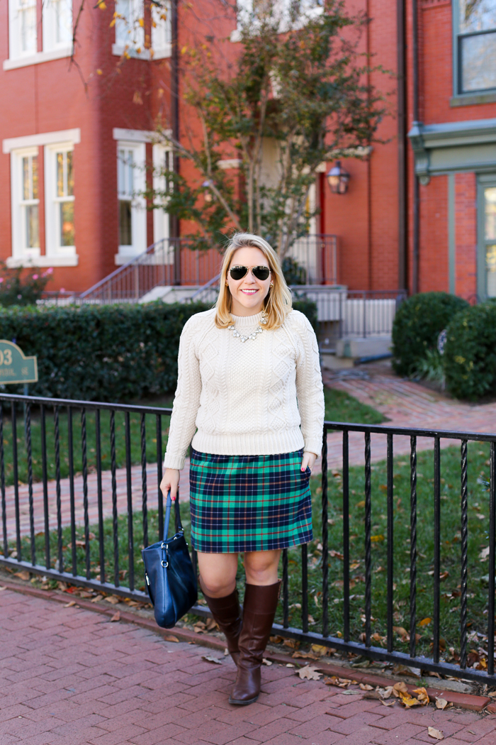 L.L. Bean Fisherman Sweater + J.Crew Factory Plaid Mini | dcgirlinpearls.com