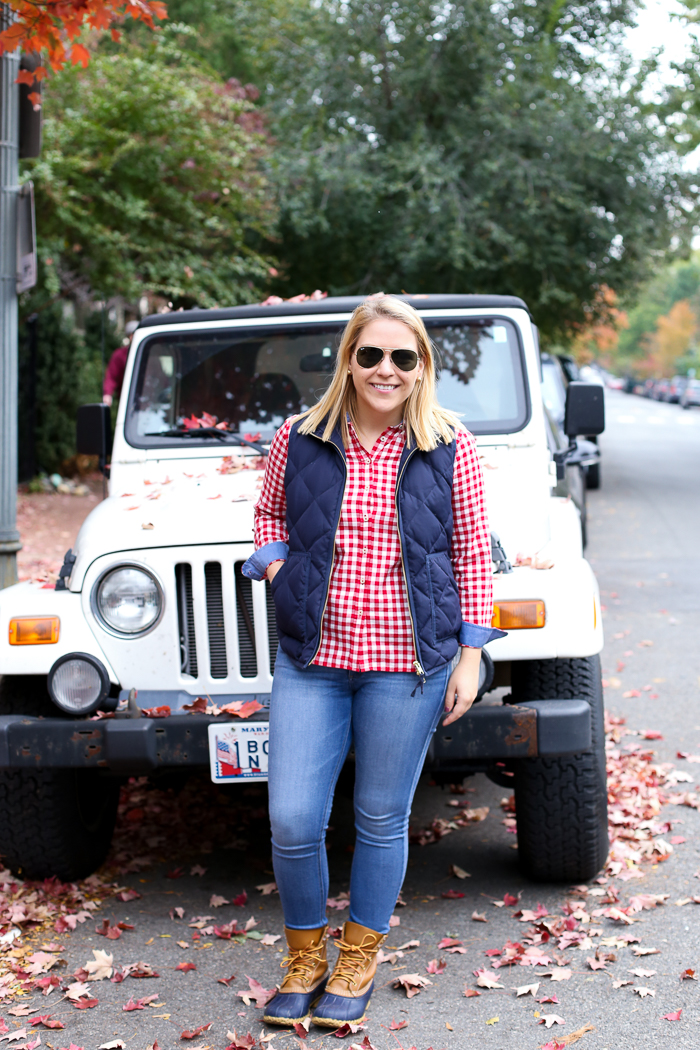 Women's Red Gingham Button Down | dcgirlinpearls.com