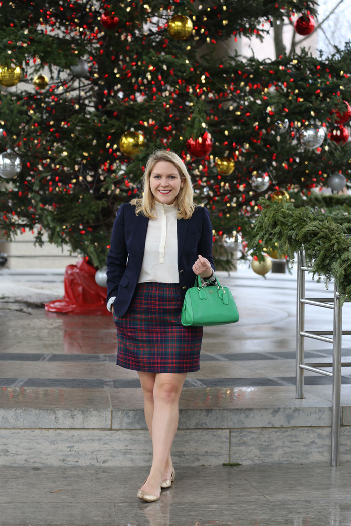 Navy Blazer + Plaid Skirt | dcgirlinpearls.com