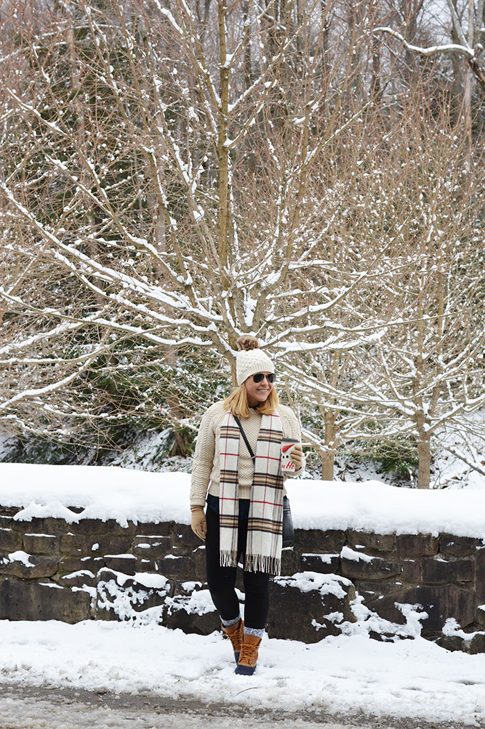 Plaid Scarf and Pom Pom Hat | dcgirlinpearls.com