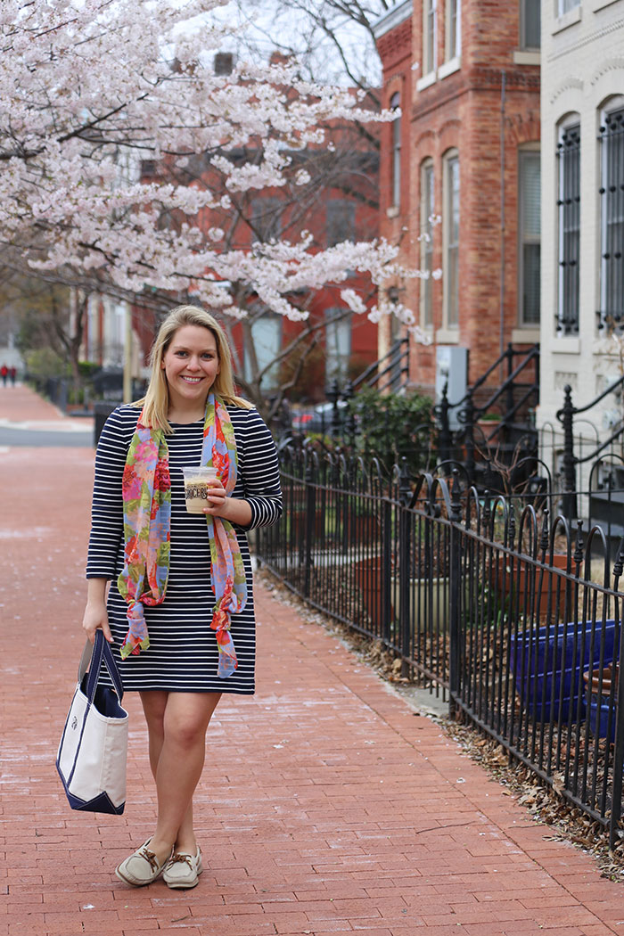 JCrew Factory Striped Maritime Dress | @dcgirlinpearls