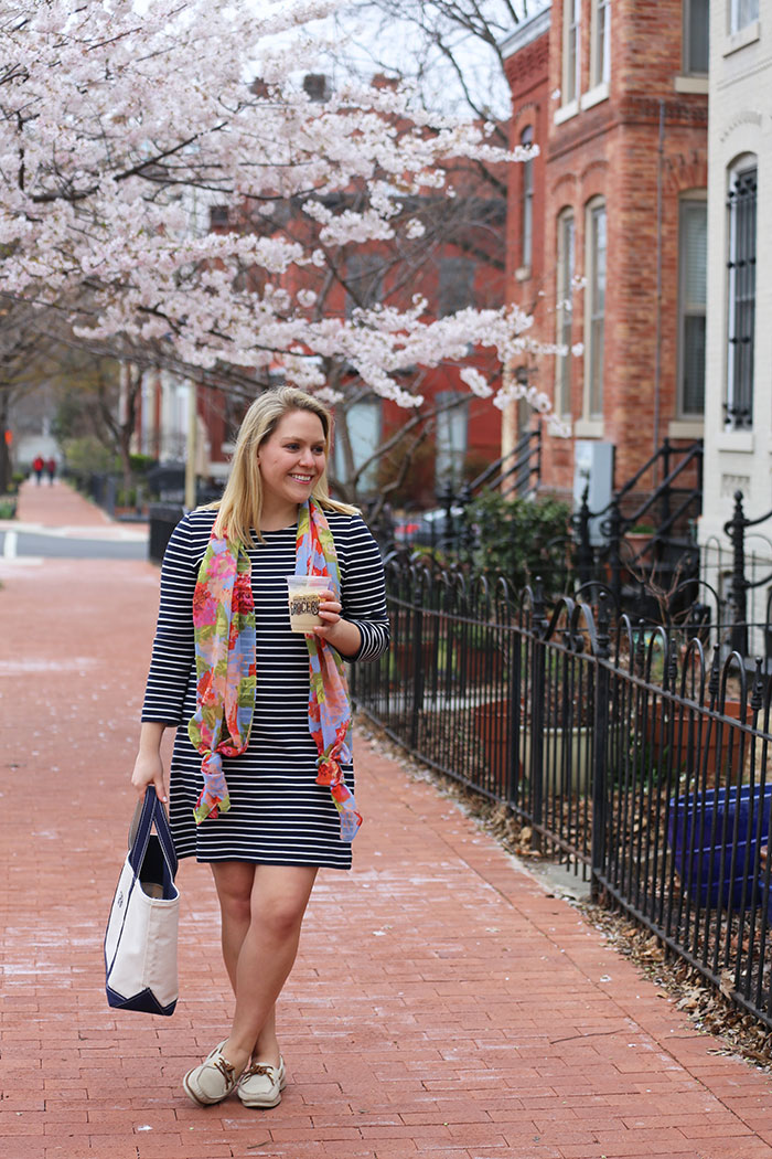 Striped Dress for Spring | @dcgirlinpearls