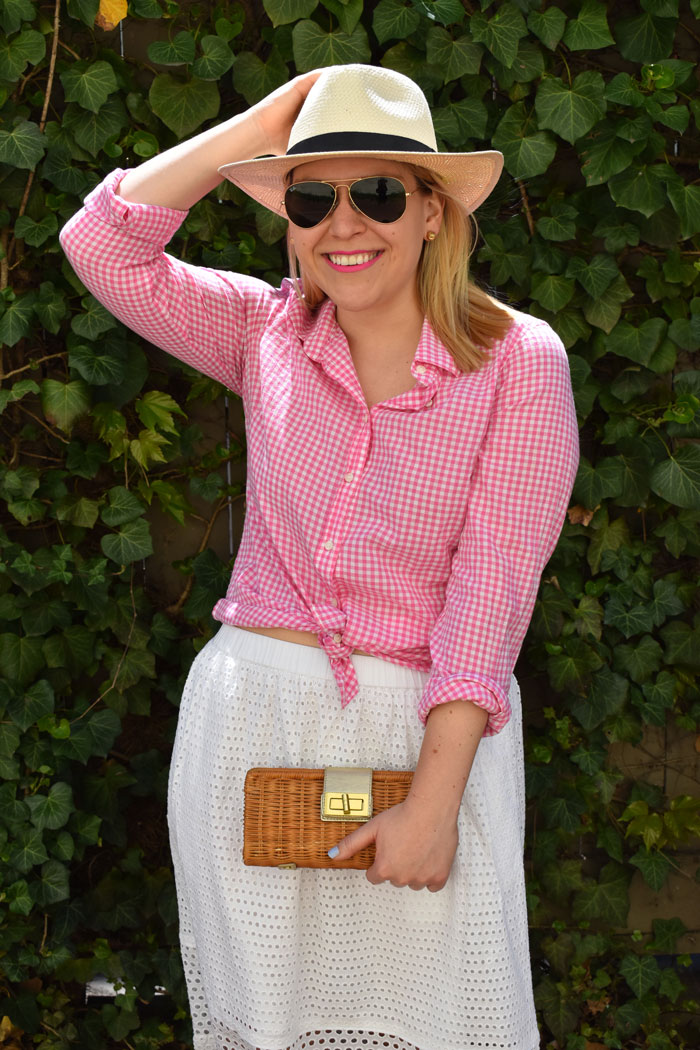 DC Girl in Pearls Gingham Shirt Eyelet Skirt | @dcgirlinpearls