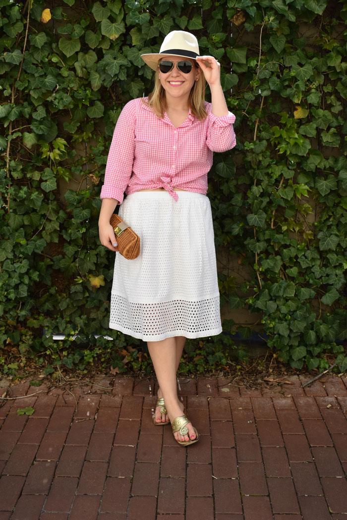 Pink Gingham Eyelet Midi Skirt | @dcgirlinpearls