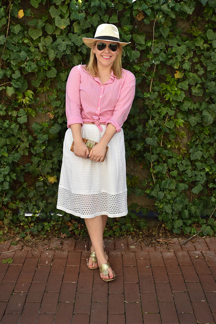 Pink Gingham Shirt | @dcgirlinpearls