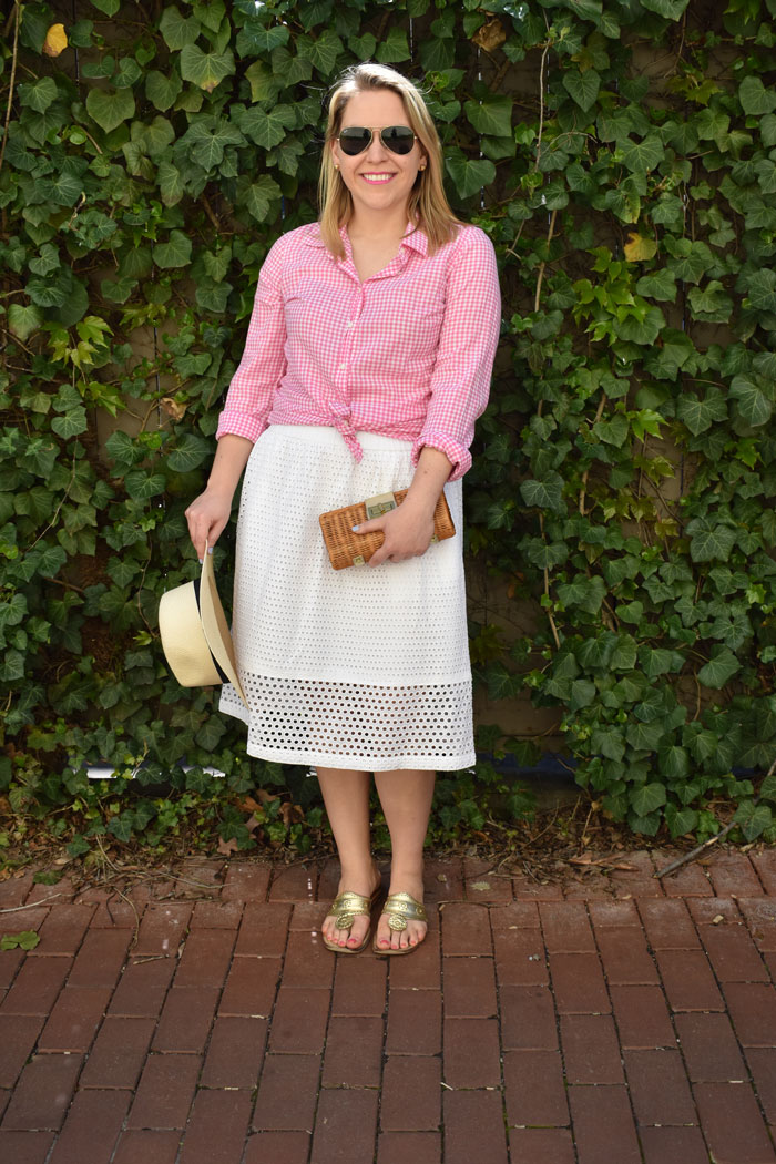 Pink Gingham and White Eyelet Skirt | @dcgirlinpearls