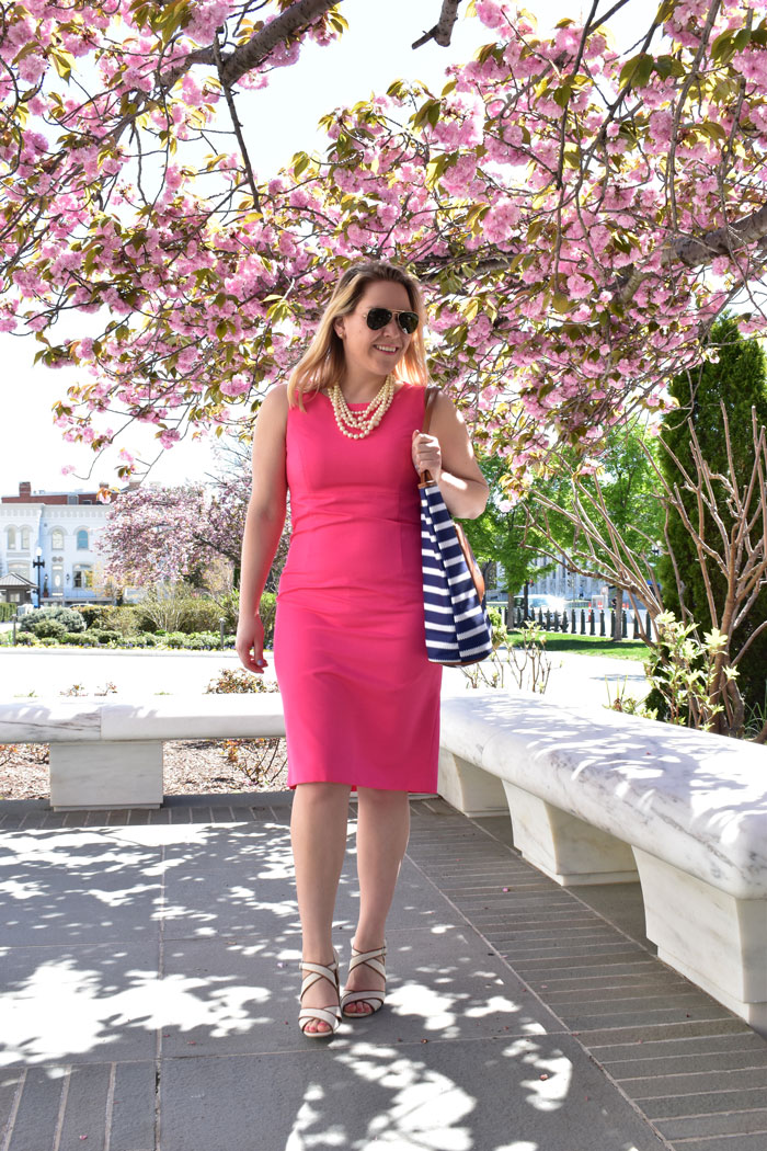 Pink Sheath Work Dress | @dcgirlinpearls