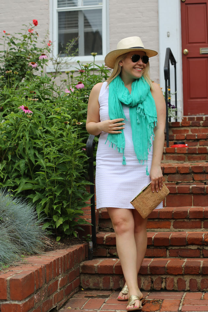 DC Girl in Pearls White Eyelet Dress | @dcgirlinpearls