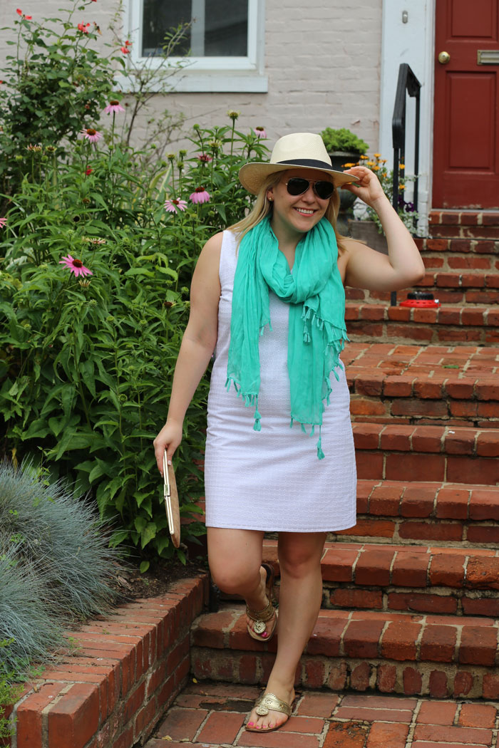 White Shift Summer Outfit | @dcgirlinpearls
