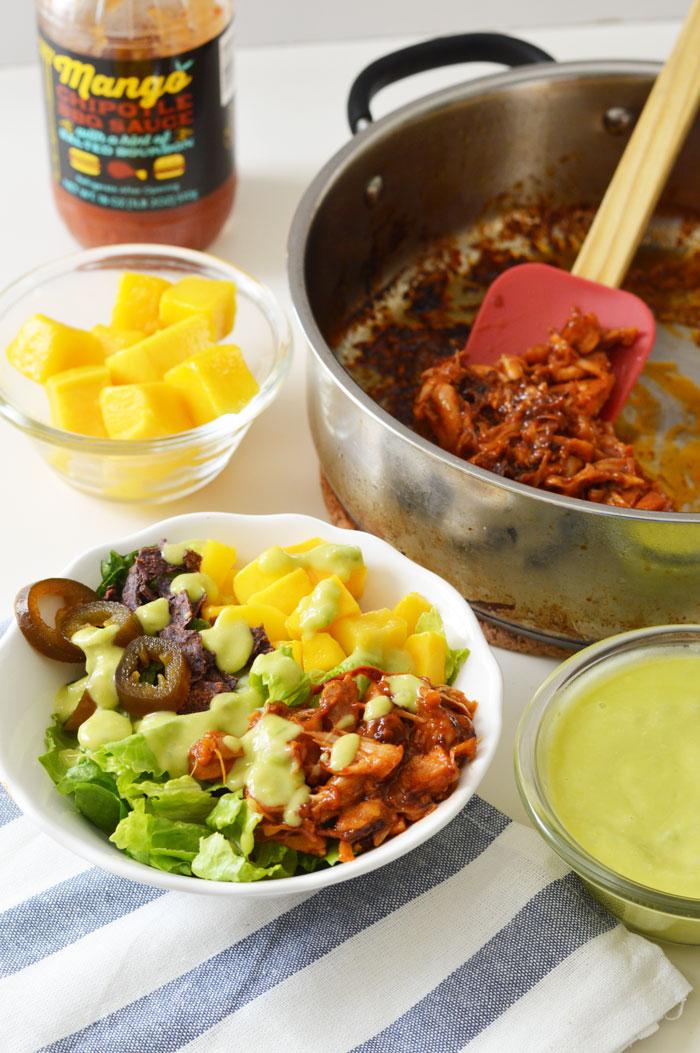 BBQ Jackfruit Salad | @dcgirlinpearls